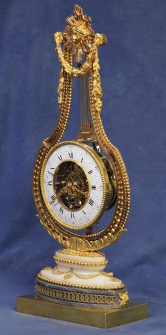 Breant a Paris c 1790 French Ormolu and Marble Swinging Lyre Clock - 1184086