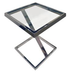 Brueton Brueton Cantilevered Side Table in Chrome and Glass 1970s - 1147705