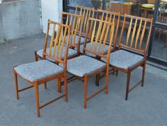 Bruksbo Rare Set of 6 Sculptural Rosewood Dining Chairs by Bruksbo in Gray Tweed - 2093769