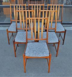 Bruksbo Rare Set of 6 Sculptural Rosewood Dining Chairs by Bruksbo in Gray Tweed - 2093814