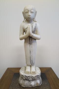 Buddha Buddhism 19th Century Alabaster Burmese Buddhist Statue - 1271230