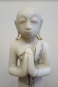 Buddha Buddhism 19th Century Alabaster Burmese Buddhist Statue - 1271233