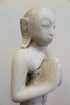 Buddha Buddhism 19th Century Alabaster Burmese Buddhist Statue - 1271244