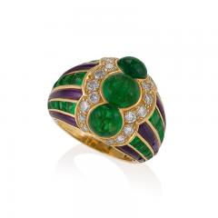 Bulgari Bulgari Late 20th Century Emerald Diamond Amethyst and Gold Ring - 283345