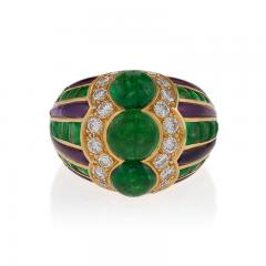 Bulgari Bulgari Late 20th Century Emerald Diamond Amethyst and Gold Ring - 283347