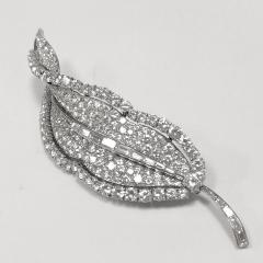 Bulgari Bulgari Mid 20th Century Diamond and Platinum Leaf Brooch - 469543