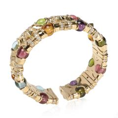 Bvlgari Bulgari Bulgari Diamond Multi Gemstone Beads Cuff Bracelet in 18K Yellow Gold 3 74 CTW - 1666994