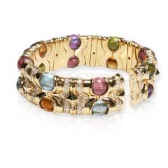Bvlgari Bulgari Bulgari Diamond Multi Gemstone Beads Cuff Bracelet in 18K Yellow Gold 3 74 CTW - 1666995