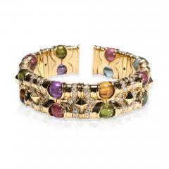 Bvlgari Bulgari Bulgari Diamond Multi Gemstone Beads Cuff Bracelet in 18K Yellow Gold 3 74 CTW - 1667182