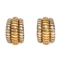 Bvlgari Bulgari Bulgari Estate White and Yellow Gold Tubogas Hoop Earrings - 1828347