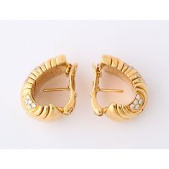 Bvlgari Bulgari Bulgari Pair of 18K Gold and Diamond Parentesi Earrings - 1206525