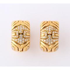 Bvlgari Bulgari Bulgari Pair of 18K Gold and Diamond Parentesi Earrings - 1206527