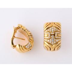 Bvlgari Bulgari Bulgari Pair of 18K Gold and Diamond Parentesi Earrings - 1206528