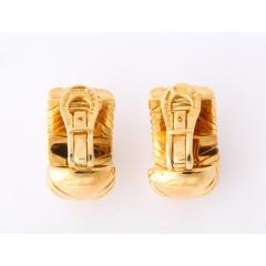 Bvlgari Bulgari Bulgari Pair of 18K Gold and Diamond Parentesi Earrings - 1206531