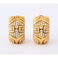 Bvlgari Bulgari Bulgari Pair of 18K Gold and Diamond Parentesi Earrings - 1206532