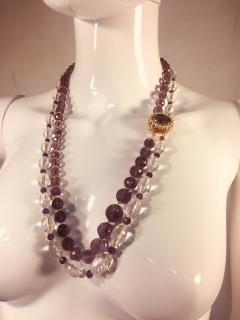 Bvlgari Bulgari Bulgari Style Amethyst Rock Crystal Necklace Ornate Amethyst Pearl Clasp - 541354