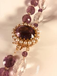 Bvlgari Bulgari Bulgari Style Amethyst Rock Crystal Necklace Ornate Amethyst Pearl Clasp - 541359