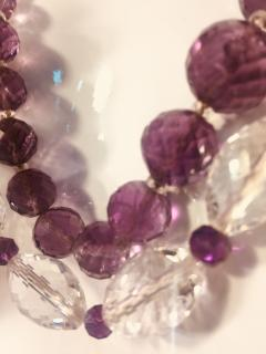 Bvlgari Bulgari Bulgari Style Amethyst Rock Crystal Necklace Ornate Amethyst Pearl Clasp - 541361