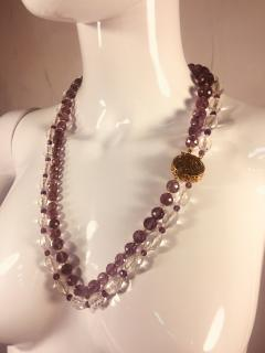 Bvlgari Bulgari Bulgari Style Amethyst Rock Crystal Necklace Ornate Amethyst Pearl Clasp - 541364