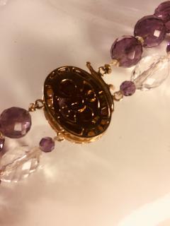 Bvlgari Bulgari Bulgari Style Amethyst Rock Crystal Necklace Ornate Amethyst Pearl Clasp - 541368