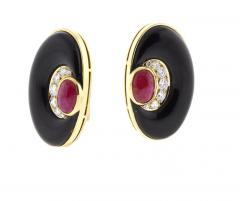 Bvlgari Bulgari Bvlgari Diamond Black Onyx and Ruby Earring - 1012033