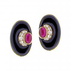 Bvlgari Bulgari Bvlgari Diamond Black Onyx and Ruby Earring - 1012582