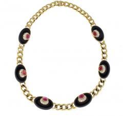 Bvlgari Bulgari Bvlgari Diamond Black Onyx and Ruby Necklace - 1028873