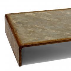 COMTE Coffee Table in Sanded Oak with Shagreen Tile Top by Jean Michel Frank - 469589