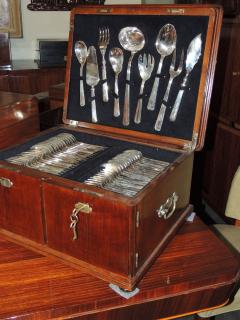 Calderoni Complete Silver Set in Wooden Chest by Calderoni Fratelli - 1334068