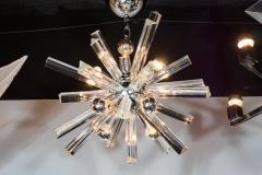 Camer Glass Mid Century Modern Sputnik Chrome Chandelier with Murano Triedre Rods by Camer - 1461213