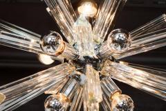Camer Glass Mid Century Modern Sputnik Chrome Chandelier with Murano Triedre Rods by Camer - 1461214