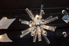 Camer Glass Mid Century Modern Sputnik Chrome Chandelier with Murano Triedre Rods by Camer - 1461215