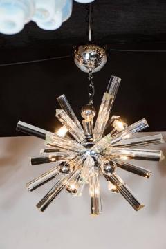 Camer Glass Mid Century Modern Sputnik Chrome Chandelier with Murano Triedre Rods by Camer - 1461217