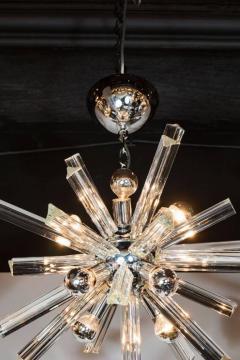 Camer Glass Mid Century Modern Sputnik Chrome Chandelier with Murano Triedre Rods by Camer - 1461218