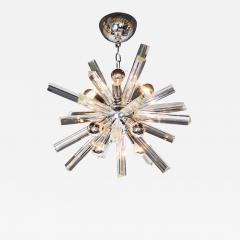 Camer Glass Mid Century Modern Sputnik Chrome Chandelier with Murano Triedre Rods by Camer - 1462935