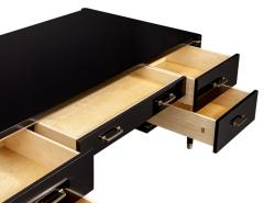 Carrocel Interiors Custom Black Lacquered Modern Office Desk with Brass Inlay by Carrocel - 1570859