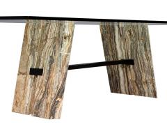 Carrocel Interiors Custom Cantilever Stone Base Glass Top Dining Table - 1707929