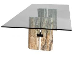Carrocel Interiors Custom Cantilever Stone Base Glass Top Dining Table - 1707931