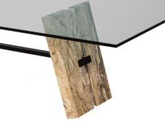 Carrocel Interiors Custom Cantilever Stone Base Glass Top Dining Table - 1707935