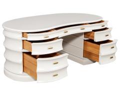 Carrocel Interiors Custom Curved Modern Cream Executive Desk - 1707749