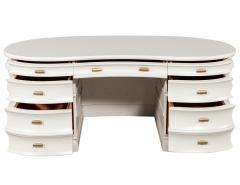 Carrocel Interiors Custom Curved Modern Cream Executive Desk - 1707751