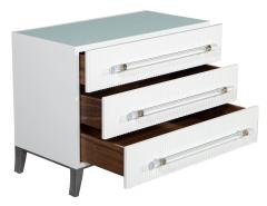 Carrocel Interiors Custom Modern White Chests with Ribbed Facade - 1626055