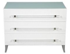 Carrocel Interiors Custom Modern White Chests with Ribbed Facade - 1626056