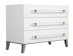 Carrocel Interiors Custom Modern White Chests with Ribbed Facade - 1626057