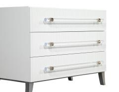 Carrocel Interiors Custom Modern White Chests with Ribbed Facade - 1626058