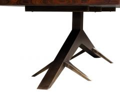 Carrocel Interiors Modern Dining Table with Unique Metal Base Mozambique Circassia Banded - 1633100