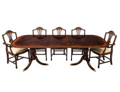 Carrocel Interiors New Flamed Mahogany Duncan Phyfe High Gloss Dining Table and Chairs Set - 1570969