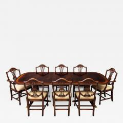 Carrocel Interiors New Flamed Mahogany Duncan Phyfe High Gloss Dining Table and Chairs Set - 1572589