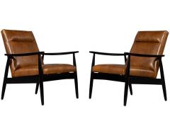 Carrocel Interiors Pair of Custom Mid Century Modern Style Leather Accent Chairs - 1739554