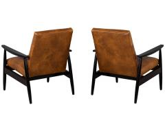 Carrocel Interiors Pair of Custom Mid Century Modern Style Leather Accent Chairs - 1739557